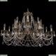 1702/8+8/300+150/C/GB Большая хрустальная подвесная люстра Bohemia Ivele Crystal (Богемия)