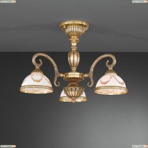 PL.8120/3 Люстра потолочная Reccagni Angelo, 3 плафона, бронза, белый с рисунком