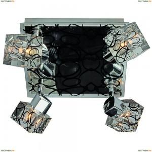 OML-22601-04 Люстра потолочная Omnilux, 4 плафона, прозрачный с чёрным, хром с чёрным (Омнилюкс)