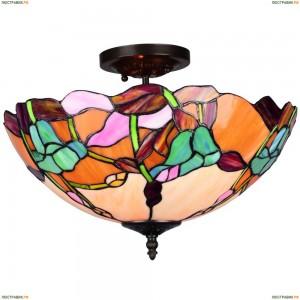 OML-80907-03 Люстра потолочная Omnilux тиффани, 3 лампы, бронза (Омнилюкс)