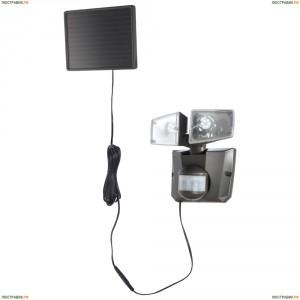 3717S Прожектор уличный светодиодный на солнечных батареях с датчиком движения Globo, 2 плафона, черный, холодный (6500K)