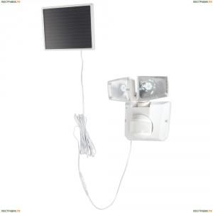 3718S Прожектор уличный светодиодный на солнечных батареях с датчиком движения Globo, 2 плафона, белый, холодный (6500K)
