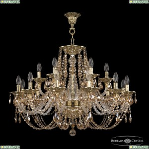 16106/12+6/300 G R721 Хрустальная подвесная люстра с металлической чашкой Bohemia Ivele Crystal (Богемия), 1606