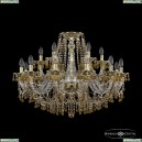 16110/12+6/300 G V1003 R721 Хрустальная подвесная люстра с металлической чашкой Bohemia Ivele Crystal (Богемия), 1610