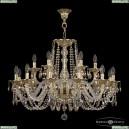 16102/12+6/300 G R801 Хрустальная подвесная люстра с металлической чашкой Bohemia Ivele Crystal (Богемия), 1602