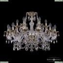 16111/12+6/300 G R801 Хрустальная подвесная люстра с металлической чашкой Bohemia Ivele Crystal (Богемия), 1611