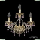 16110B/2+1/141 G V7010 Хрустальное бра с металлической чашкой Bohemia Ivele Crystal (Богемия), 1611