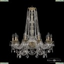 16111/10/240/h-80 FP Хрустальная подвесная люстра с металлической чашкой Bohemia Ivele Crystal (Богемия), 1611