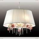 2685/5 Odeon Light 103 бел/абажур ткань/хрусталь/керам.розов.розы Подвес E27 5*60W 220V PADMA