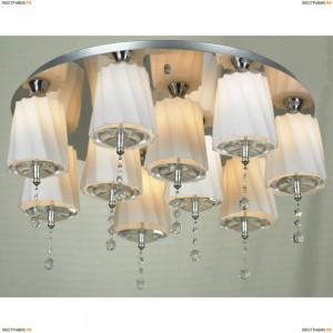 LSF-7403-10 Люстра подвесная Lussole Loreto, 10 ламп, хром, белый, прозрачный хрусталь