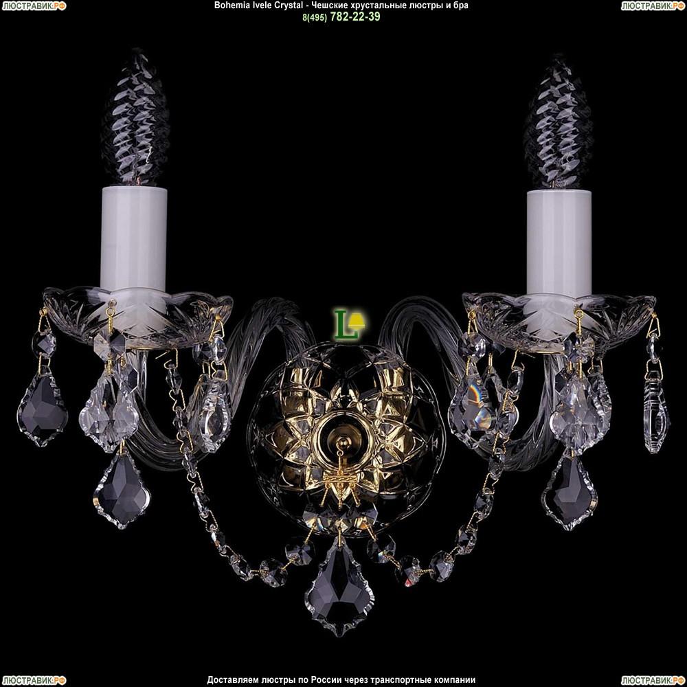 1400/2/G/Leafs Хрустальная бра Bohemia Ivele Crystal (Богемия)