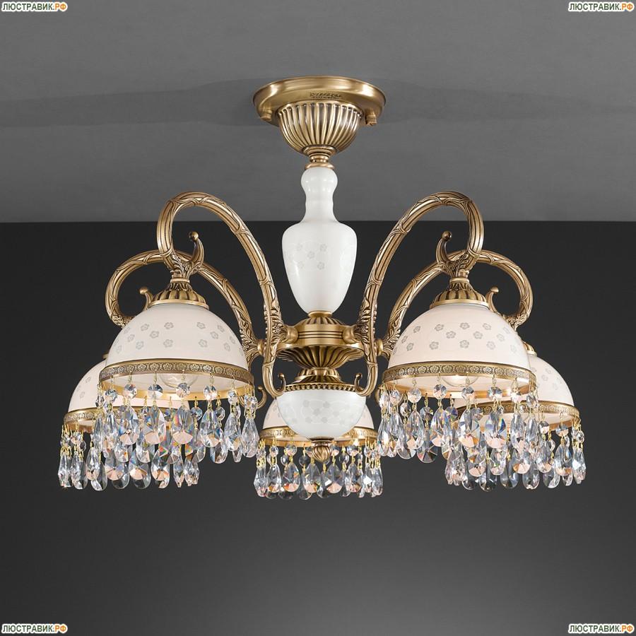 PL.8231/5 Люстра потолочная Reccagni Angelo, 5 плафонов, бронза, белый
