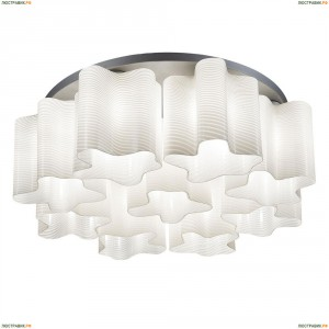 802091 Люстра потолочная Lightstar Simple Light, 9 плафонов, никель, белый